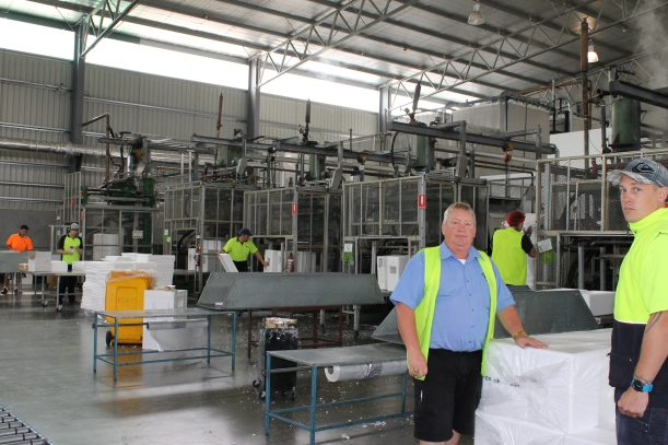Greg Riley (left) and Adam Richardson at Polyfoam Bridgewater, where energy costs make the business more expensive to run than mainland operations. Picture: Brighton Community News