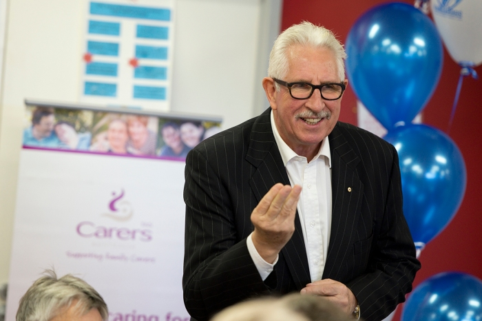 Motivational speaker, Max Walker at the previous Carers Tasmania AFL event