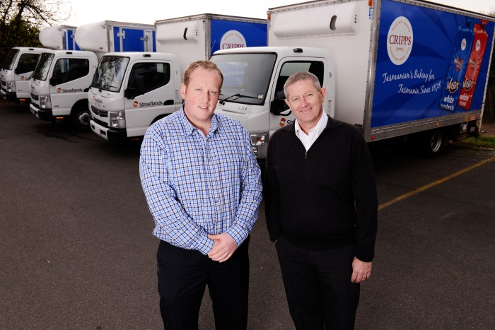 Troy Streefland, operation manager of Streefland's Transport and Logistic Solutions, and Stephen Harvey, Cripps operations manager.