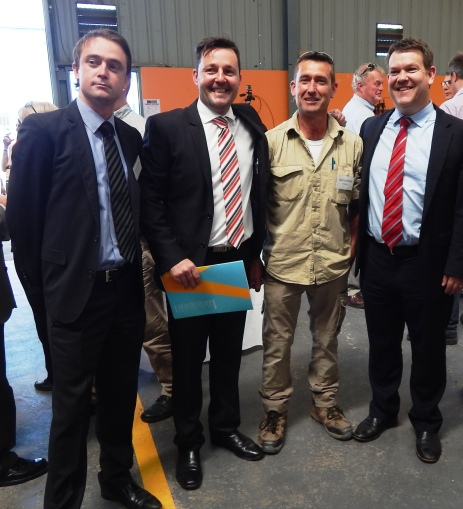 Shadow Treasurer Scott Bacon, Workskills Marketing Manager Rorie Auld, Workskills Employment Skills Trainer Martin Killick and Minister for State Growth, Matthew Groom at the Workskills Red Shed official opening