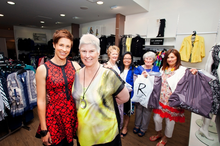 Northgate Fashion stylist Erin Wiss with carer Alannah Watts-Hampton,  Shirley Yates, Lam Shaw, Elizabeth Banks, Cecibel Gonzales