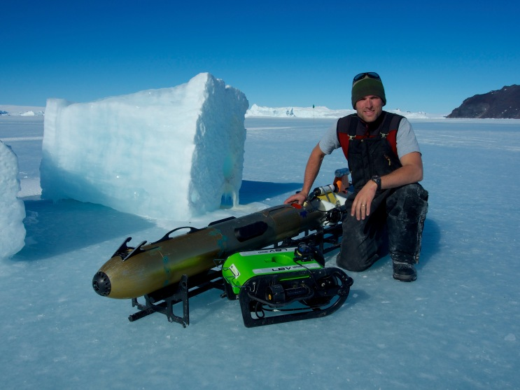 Alex Forrest in Antarctica with specialised equipment