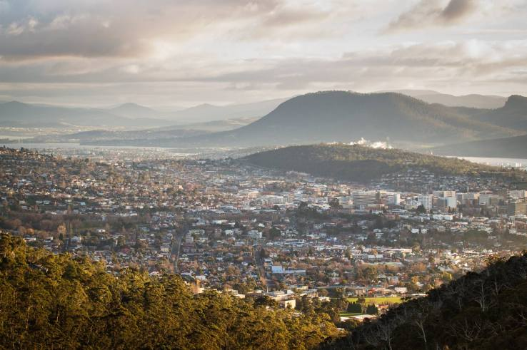 Bird's eye view of Hobart, by photographer Scott Bradshaw