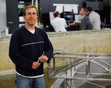 Dr Steven Schmied in the test basin.