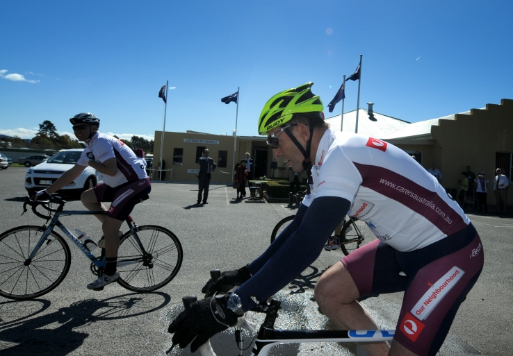 PHOTO: Geoff Robson -Prime Minister Tony Abbott leaves Exeter RSL Club on the next leg of the Pollie Pedal - courtesy of The Examiner