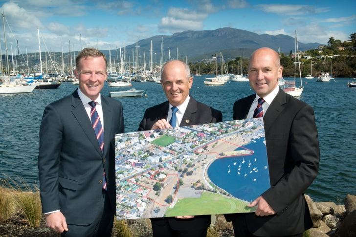 Premier Will Hodgman, Mayor Doug Chipman and Senator Stephen Parry at Kangaroo Bay