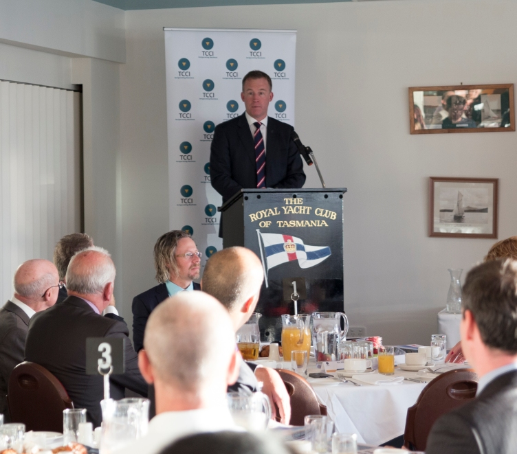 Premier Will Hodgman speaking at the Export Growth China launch before his trade mission to China.