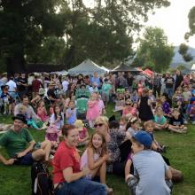 Families enjoying the first season of the Hobart Twilight Market