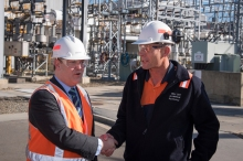 State Growth Minister Matt Groom and Bell Bay General Manager Ray Mostogl