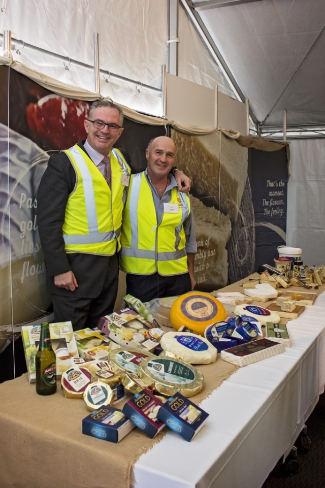 Lion CEO Stuart Irvine and head cheesemaker Ueli berger unveil the upgraded Heritage Cheese Factory.