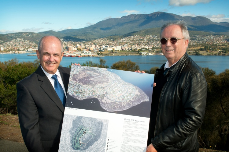 Clarence City Council Mayor Doug Chipman with Hunter Developments architect, Professor Robert Morris-Nunn, at Rosny Hill. Picture: David Bellamy