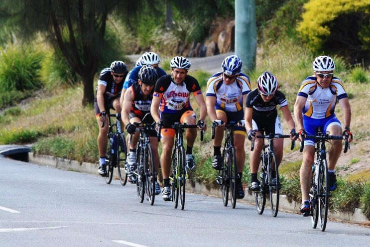 Mal Matthews leading the pack in the Cataract Challenge Road Cycle leg