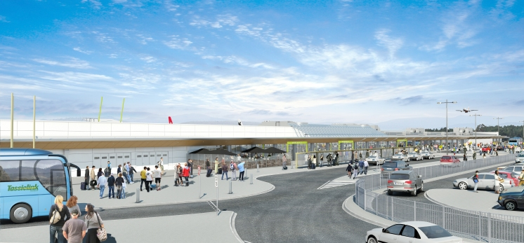 An architectural render of the new-look Hobart Airport