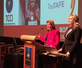 BO$$ camp's VIP Boss,Wendy Perry launches BO$$ camp at the TCCI Skills Forum alongside TasTAFE's general manager operations, organisational and business development Gail Eaton-Briggs.