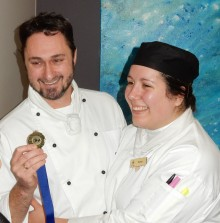 Winner of the Southern cook off and finalist for the Award for Excellence, Robin Kelly  with his assistant, Kelsea House during the cook off on 22 June, image courtesy of the Tasmanian Hospitality Association