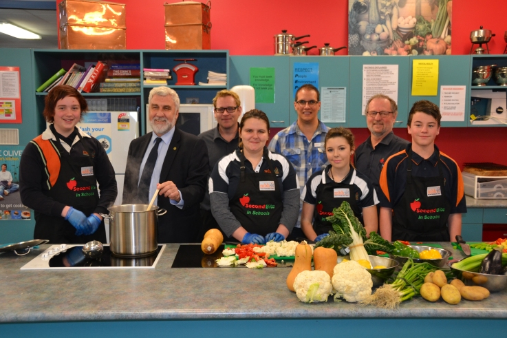 SecondBite's schools program was one of 14 Tasmanian not-for-profit organisations who received a grant from the MyState Foundation in 2015.  Here SecondBite program participants from Montrose Bay High School are joined (L to R) by MyState Foundation Chairman Bob Gordon, SecondBite's Aaron Kropf, Montrose Bay High School's Nigel Walsh and SecondBite's Pat Burton.