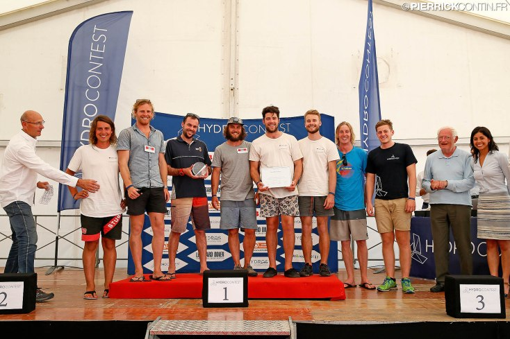 Team AMC receive the Best Boat Design award at the 2015 HYDROcontest in Switzerland (from L-R) James Wilkes, Reuben Kent, Mitchell Pearson, Will Innis, Sam Smith, Alex Waterhouse, Dave Carlsson and Sam Hunnibell.
