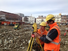 Zabreena Manjerovic and Ryan Neal work at the UTAS accommodation site on Elizabeth St, Hobart. Photo Courtesy of Fairbrother