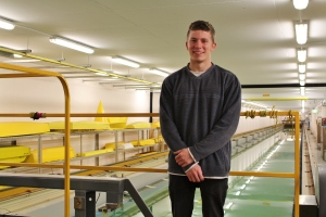 PhD candidate Curtis Armstrong, at the Australian Maritime College's towing tank facility in Launceston, Tasmania.